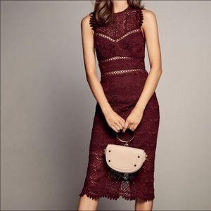 Bardot Lace Midi Cut Out Dress New